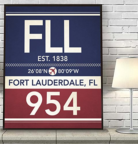 Fort Lauderdale Florida FLL 954 754 Vintage Airport Area Code Map Coordinates Subway Art Print, UNFRAMED, Customized Colors, Christmas - Housewarming gift home decor poster, ALL - Fort Airport Lauderdale