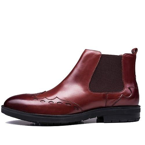 Botines para Hombres Botines Martin Boots De Piel Tallada Casual Botines De Cuero para Hombres: Amazon.es: Zapatos y complementos