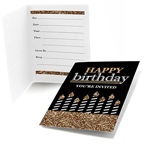 Big Dot of Happiness Adult Happy Birthday - Gold - Fill-in Birthday Party Invitations (8 Count) -
