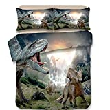 Koongso 3D Dinosaur World Print Bedding Sets Reversible 3 Pieces Soft Jurassic Duvet Cover Set for Kids Boys Teens,Twin/Full/Queen/King Size