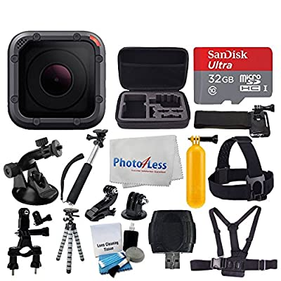 GoPro HERO5 Session 10MP - Waterproof to 33', Wi-Fi & Bluetooth + SanDisk 32GB + Head & Chest Strap + Flexible Tripod + Extendable Monopod + Medium Case + Bike Mount + Floating Handle + Accessories