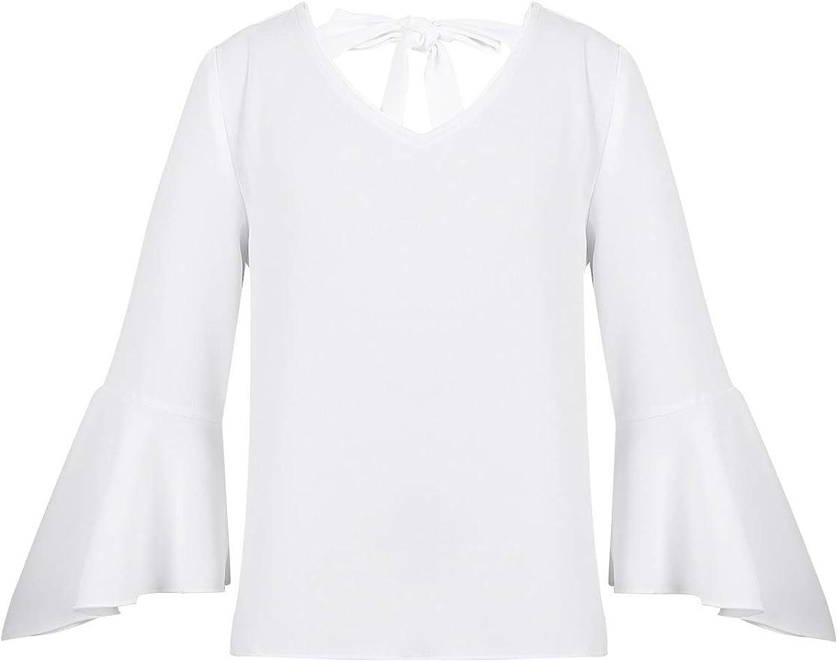 MSemis Camiseta Blusa con Volante para Niña Manga ...