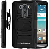 MINITURTLE, High Impact Rugged Hybrid Dual Layer Protective Phone Armor Case Cover with Built in Kickstand, Swivelling Holster Belt Clip, and Clear Screen Protector Film for Android Smartphone LG G3 /AT&T D850, /Verizon VS985, /T Mobile D851, /Sprint 990 (Black)