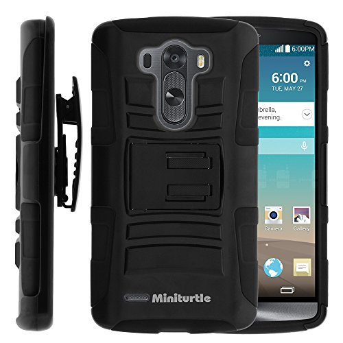Miniturtle Case Compatible W  High Impact Rugged Hybrid Dual Layer Protective Phone Armor Case Cover W  Built In Stand  Swivelling Holster Belt Clip  And For Android Smartphone Lg G3  At T D850  Vs985   T Mobile D851   Sprint 990  Black