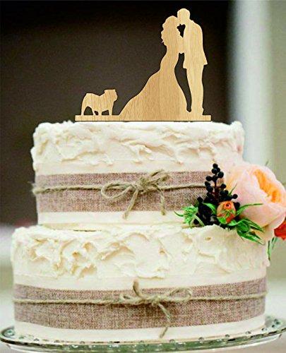 Silhouette wedding cake topper Couple Kissing with English Bulldog
