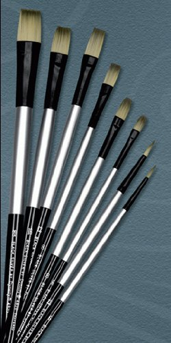 Dynasty Bright Black Silver Synthetic Hair Long Handle Paint Brush, Size 4