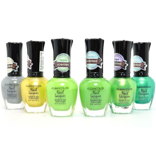 6 KLEANCOLOR ECLECTIC ENSEMBLE SWEET SCENTED NAIL POLISH LACQUER JUNGLE KNP21 + FREE ()