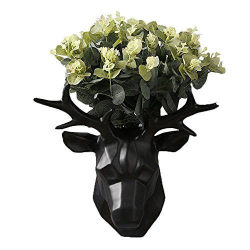 Hanging Planter Vase & Animals Deer Head Wall Decor Container - Great for Succulent Plants, Air Plant, Mini Cactus, Faux Plants and More (Black) by GardenBasix