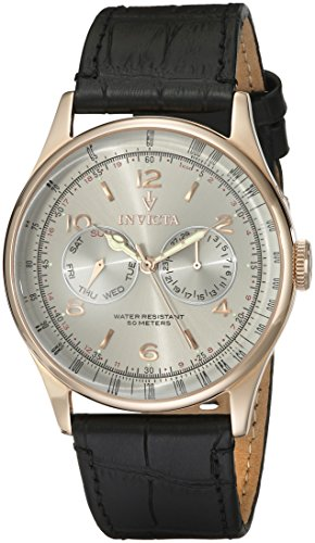 Invicta Men's 6753 Vintage Silver Dial Black Leather Watch ()
