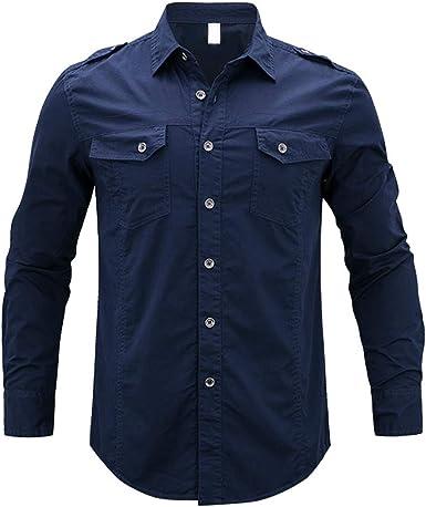Internet—Camisa de Manga Larga de Color sólido para Hombres de Moda, Camiseta de Manga Larga con Botones Personalizada, Dos Bolsillos(M-5XL)
