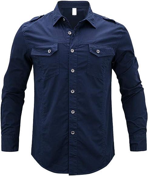 Internet—Camisa de Manga Larga de Color sólido para Hombres de Moda, Camiseta de Manga Larga con Botones Personalizada, Dos Bolsillos(Armada M-5XL): Amazon.es: Ropa y accesorios