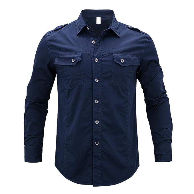 16ef87155 Internet—Camisa de Manga Larga de Color sólido para Hombres de Moda,  Camiseta de Manga Larga con Botones Personalizada, Dos Bolsillos(M-5XL)