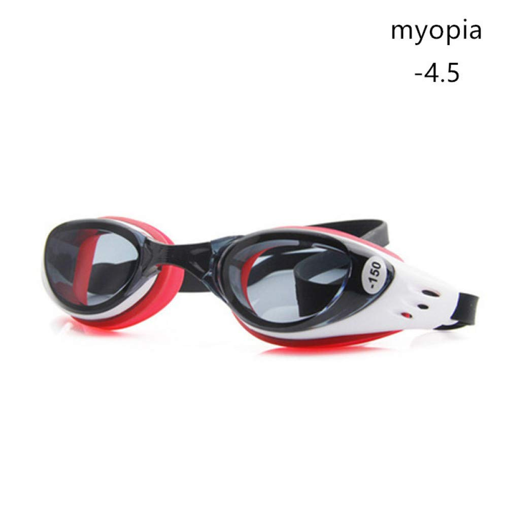 Myopia red 450 GPOKD Swimming Goggles Swim Goggles Diopter Myopia 1.5 to 10 Swimming Pool AntiFog HD 100% Silicone Diving Glasses Kids with Box