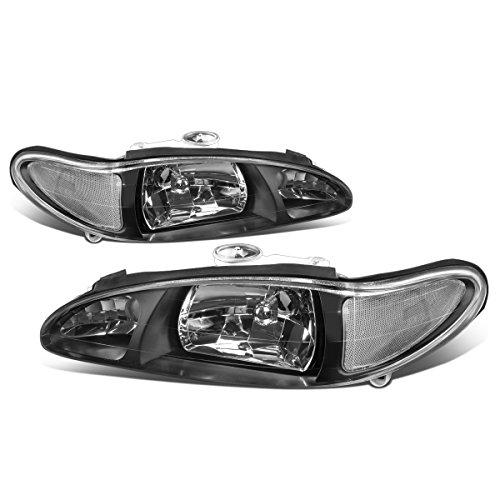 - For 97-02 Ford Escort 4-Door Black Housing Clear Corner Headlight/Lamp - Pair