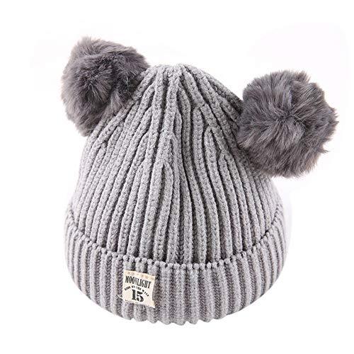 (Tronet Baby Winter Hat,Newborn Kids Boys Girls Beanie Cap Warm Crochet Knit Hat (Gray, 2-8 Years Old))