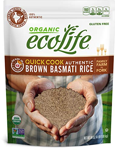ecoLife Organic Quick Cook Brown Basmati Rice, 4 Pound (Best Brown Basmati Rice Recipe)