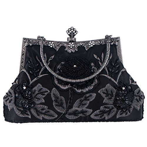 Black Beaded Evening Purse - Bagood Women's Vintage Style Roses Beaded And Sequined Evening Bag Wedding Party Handbag Clutch Purse