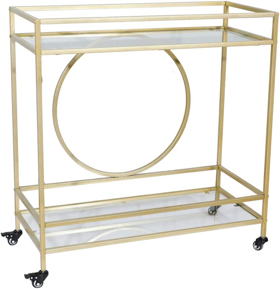 INFasion Gold Bar Cart with Wheels,Metal Serving Cart with 2 Glass Shelves,Rolling Kitchen Wine Rack Cart for Home,L 94.4 40 x H 90.3 x W