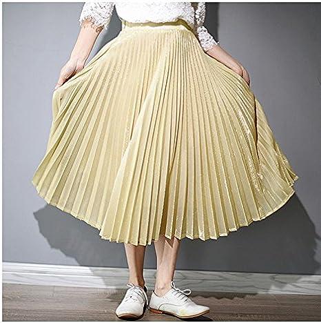 XiaoGao El Nuevo Larga Falda Falda Plisada Metalizada,M Gold ...