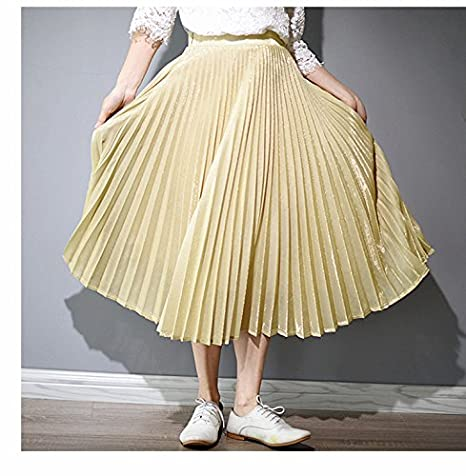 XiaoGao El Nuevo Larga Falda Falda Plisada Metalizada,S Gold ...