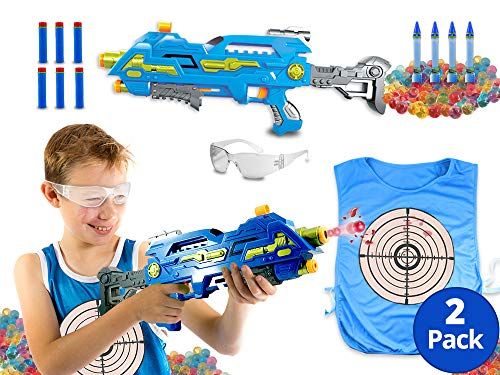 (The Patriot Water Bead Gun, Orbeez Shooter with Water Color Change Vest and Safety Goggles, Gel Ball Pistol, 2 in 1 Water Tag and Foam Dart Blaster Kids Paintball Alternative (Blue XL100 Pack of 2))