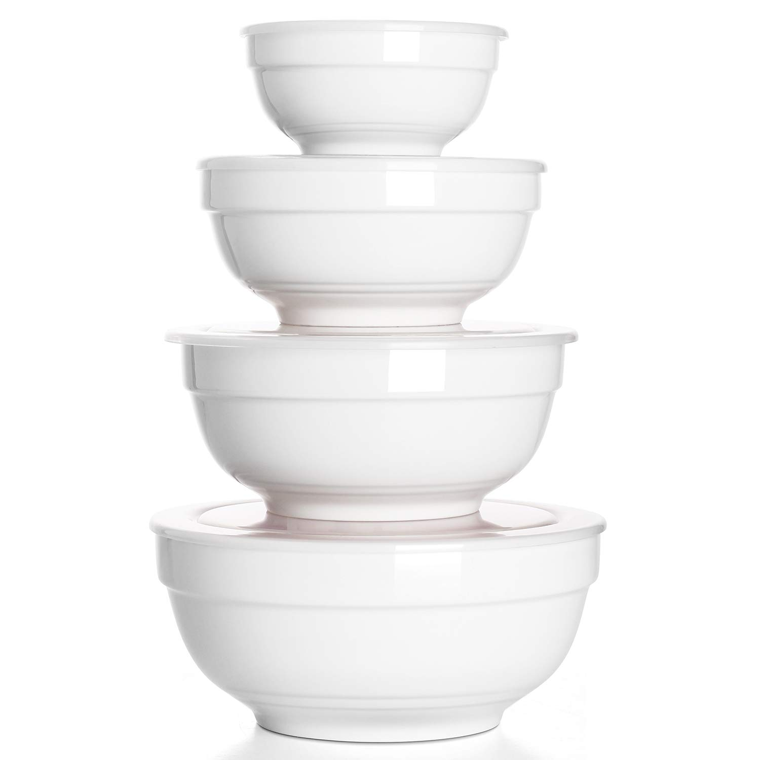 DOWAN Porcelain Serving Bowl Set with Airtight Lids for Keep Fresh, Small Mixing Bowls, Non Slip, Set of 4