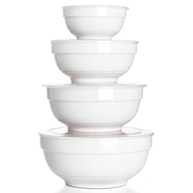 DOWAN Non-Slip Mixing Bowl Set with Airtight Lids, Porcelain Serving Bowls, 4-Piece(4.5 -5.5 -7 -8 )