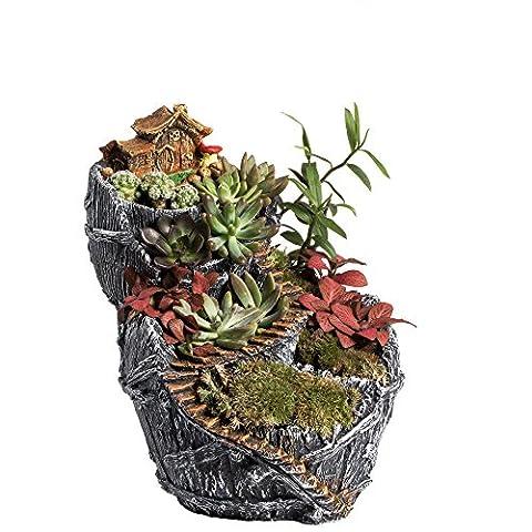 NCYP Creative Fairy Garden Miniature Broken Bucket Flower Pot Cottage Vertical Sculpture Sweet House Planter Dark Grey No (Large Flat Planter)