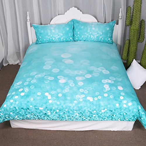 (Arightex Girls Duvet Cover Blue Water Drops Bedding 3D Print Crystal Clear Bubbles Design Fashion Woman Bedding Set (Queen))