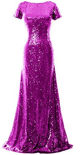 Sleeve Cap d' Formale sirena da Lungo Sequin Abito onore MACloth Fuchsia Abito damigella sera HF1Bwqxx