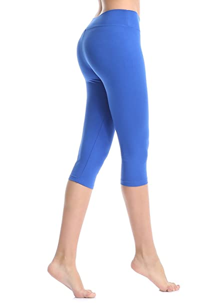6215b0cc19e7d ABUSA Cotton Yoga Capri Pants Women's Tummy Control Workout Leggings Non  See-Through Fabric S