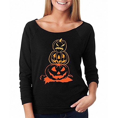 Dreamyth Women Halloween Pumpkin Print Long Sleeve Sweatshirt Pullover Tops Blouse Shirt Pretty Good (Black, S)