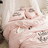 Fringe Embroidery Bedding Sets Pink - MeMoreCool 100% Cotton Princess Room Home Textiles Duvet Cover and Flat Sheet Full Girls Gifts