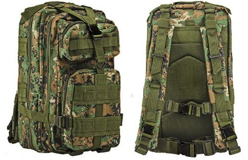 (Ultimate Arms Gear Tactical Marpat Woodland Digital Camo Camouflage Compact Level 3 Full Featured Assault Pack Backpack 3 Day Bug Out Bag Combat Multi-Functional Equipment Survival Assault Transport with Adjustable Slip Shoulder Length Straps MOLLE Modular PALS Shooting Range Military Army Patrol Paintball Hunting Camping Travel Vacation Heavy Duty Pack)