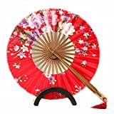 Salome Idea Chinese/Japanese Handheld Folding Vintage Round Shape Windmill Handhelded Folding Fan(Red)
