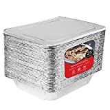 9 x 13 Aluminum Foil Pans with Lids 25 Each - Disposable Steam Table Deep Pans Great for Restaurants, Parties, BBQ, Catering, Baking, Cooking, Heating, Storing, Prepping Food – 12.5' x 10.25' x 2.5'