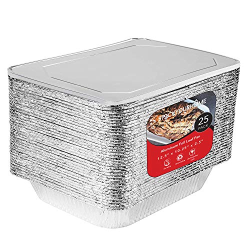 9 x 13 Aluminum Foil Pans with Lids 25 Each - Disposable Steam Table Deep Pans Great for Restaurants, Parties, BBQ, Catering, Baking, Cooking, Heating, Storing, Prepping Food – 12.5