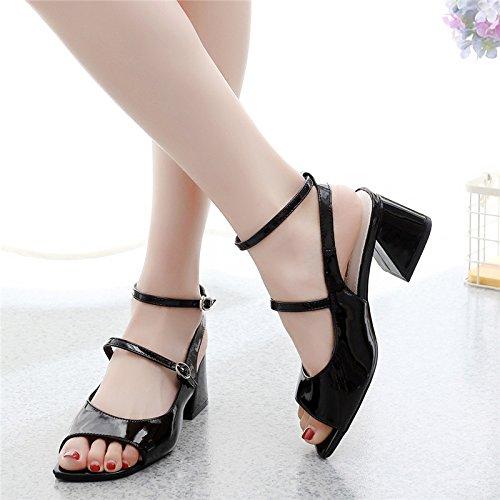 tallone fibbia bocca sandali di moda donna sexy pesante parola summer la black pesce 5 39 e primavera roma tacchi 8cm l'estate GTVERNH tw6xqp