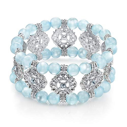 1928 Jewelry Silver-Tone and Cat's Eye Aqua Blue Bead Stretch Bracelet (Aqua Blue Cats Eye Beads)