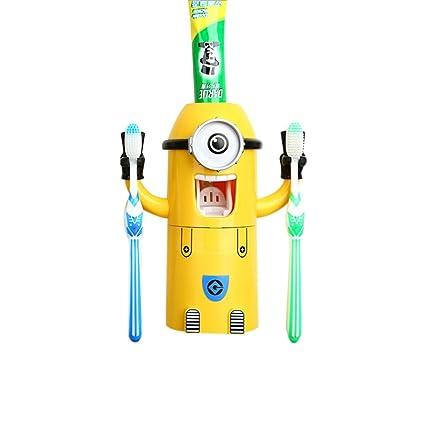 Moin Pasta de dientes automático dispensador Exprimidor Con cepillo de dientes titular del baño Copas de