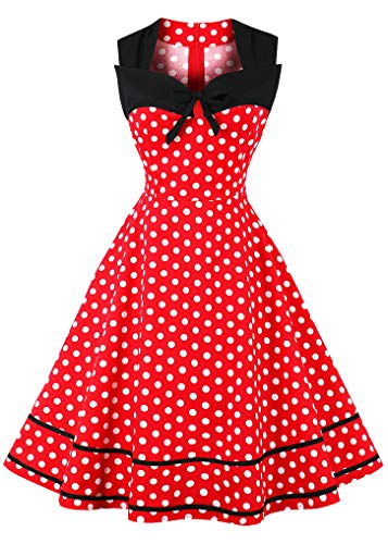 Nihsatin Women's Sleeveless Polka Dot 1950s Vintage Style Cocktail Party Dress ()
