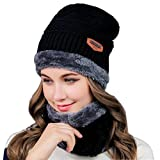 Zhuanglin Winter Slouchy Hat Thick Knit Cap for Women Or Men Fleece Lined Scarf