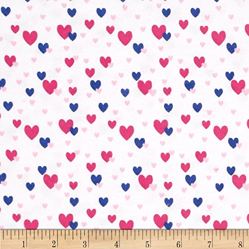 Flannel Fabric Hearts - Flannelland Floating Hearts White/Pink Fabric By The Yard