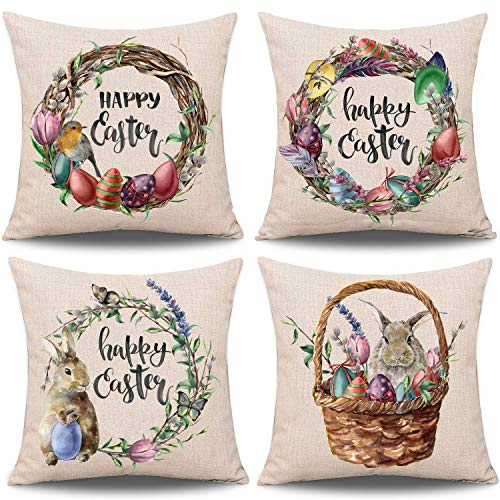 AlexBasic Set of 4 Easter Pillow Cover Rabbit Bunny Throw Pillow Case Cushion Cover, Cotton Linen Spring Seasons Decoration for Sofa Bed (18 x 18)