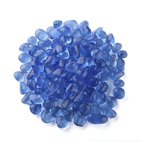 Coming Deco Glass-Fireplace and Fire Pit Eco Fire Glass Dots 10-Pounds 9mm-12mm Glass Beads (Light Blue)