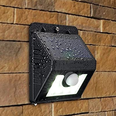 Super Bright Outdoor Solar Lights with 8 LEDs- Maintenance Free Motion Activated Light- 100% Weatherproof Body (Black)