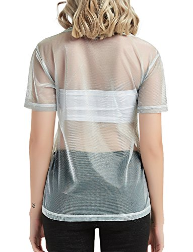 38e95732307 YiZYiF Fashion Women's PVC Leather Metallic Sleeveless Turtleneck Crop Tank  Tops Silver Large