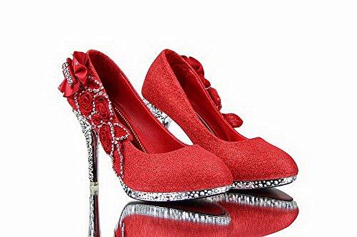 Amoonyfashion Donna Con Paillettes Stiletto Pull Su Pumps Scarpe Con Strass Rosso-bhx