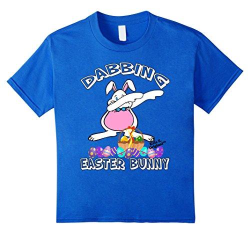 Kids Dabbing Bunny Shirt Boys Girls Toddlers Basket Easter Tee 12 Royal Blue