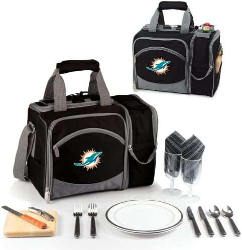 NFL Miami Dolphins Malibu Insulated Shoulder Pack with Deluxe Picnic Service for Two